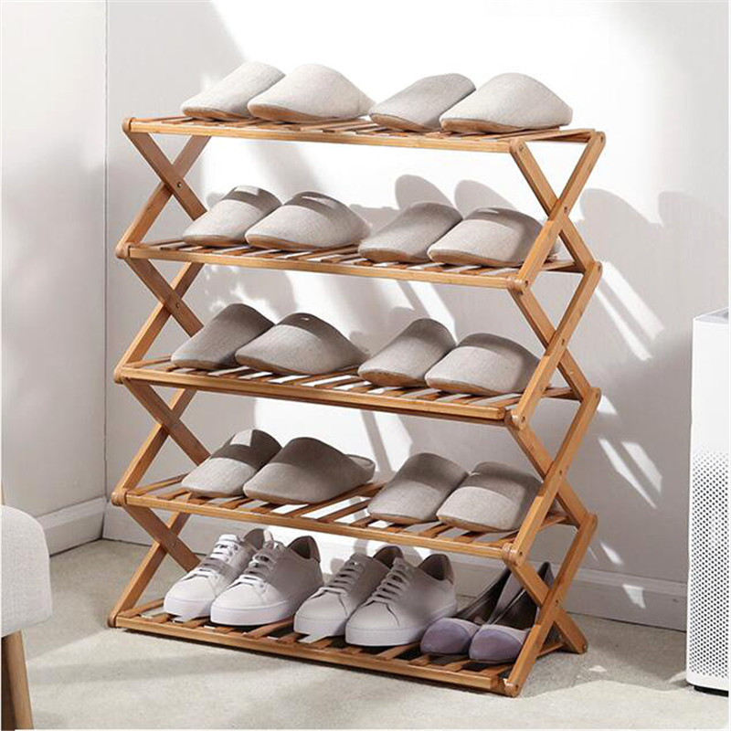 Foldable Shoe Rack 3/4/5/6 Layers Bamboo Shoe Cabinets Shelf Home Organizer Holder Shoes Storage Rack For Dormitory Doorway