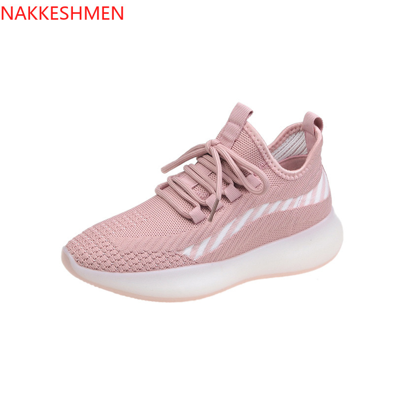 NAKKESHMEN-Versatile Fly Weaver Shoes 2020 Summer New Style Students Athletic Shoes INS Breathable Running Flat Board Shoes
