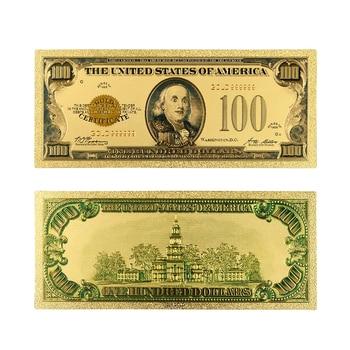 1928 год 24k золотые банкноты позолоченные США 100 долларов мира поддельные коллекции денежных знаков валюта USD фольга