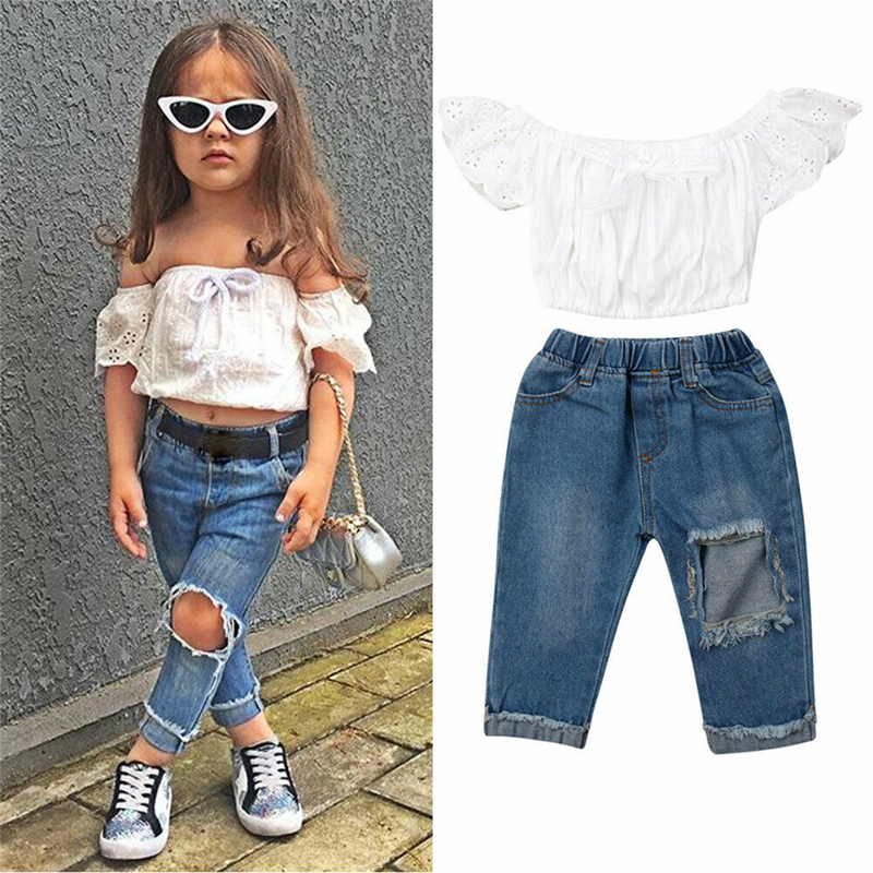 1-6Y Kids Toddler Girl Summer Clothes Lace Crop Tops Striped Pant Outfit Sunsuit