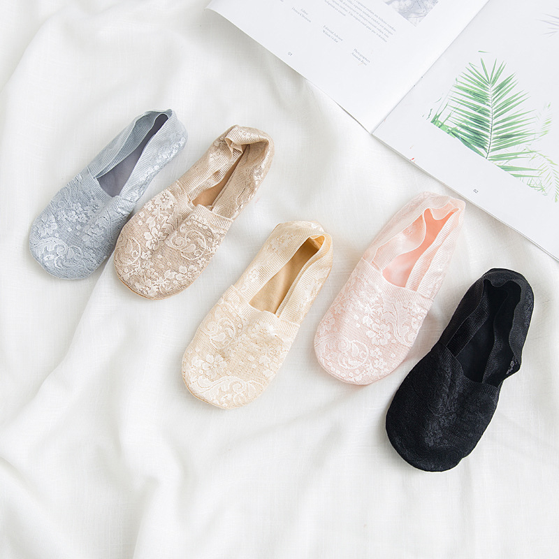 Sale Silicone Shallow Women Lace Slipper Ankle Socks Invisible Seamless Girls Low Cut Boat Cotton Thick Socks