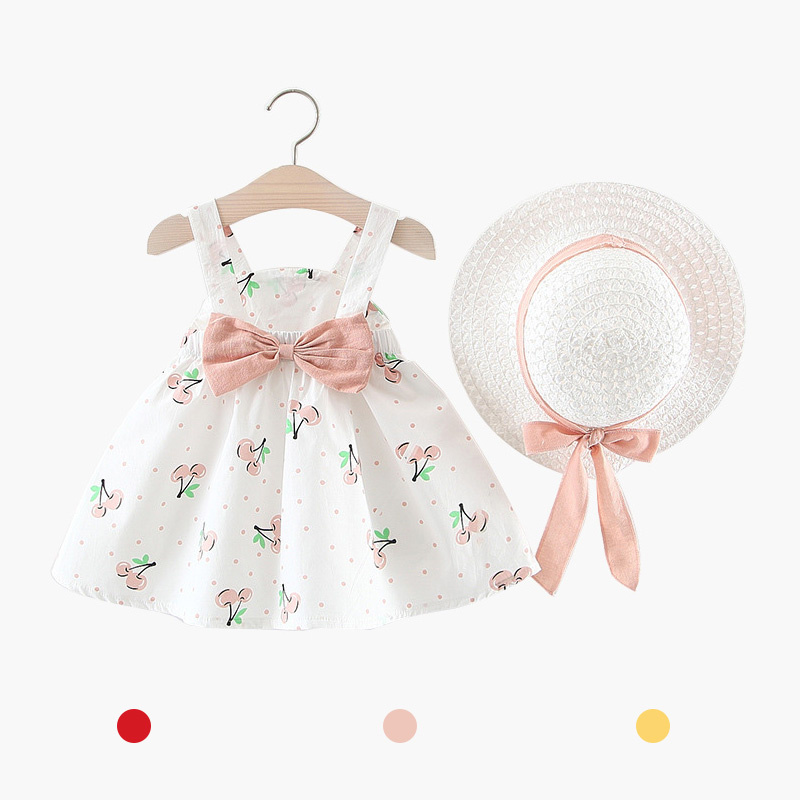 Summer Baby Girl Dress Toddler Girls Clothes 6-24 Months Sleeveless O-neck Print Floral Candy Color Bow Princess Dress With Hat
