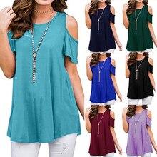 Plus Size Women Shirt Summer Tops Female Solid Short Sleeve O Neck Off Shoulder Shirt Fashion Bohemian Party Beach Shirts D25