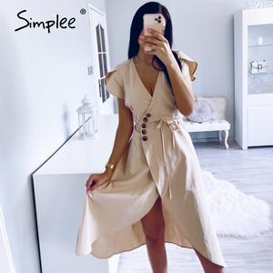 Image 2 - Simplee Sexy v neck women wrap dress Casual solid button female summer dress Elegant ladies cotton spring a line work midi dress
