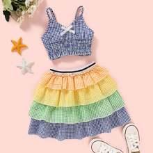 Micol emilly комплект детской одежды для девочек жилет + клетчатые
