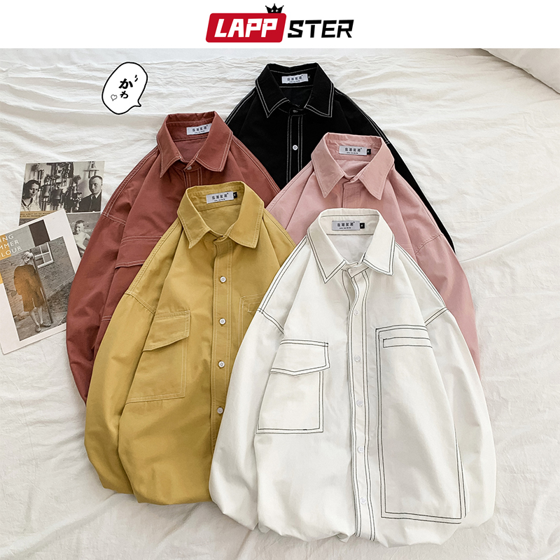 LAPPSTER Mens Solid Harajuku Shirts Long Sleeve 2020 Mens Harajuku Pockets Shirts Button Up Male Harajuku Colorful White Shirt