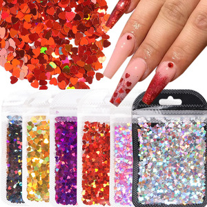 1Bag Love Heart Nail Sequins Ultrathin Red Pink Glitter Flakes Laser Nail Art Paillette DIY Nail Decor Manicure Tools GLDZS07-17