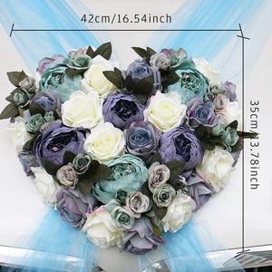 Image 2 - 1セット造花結婚式の車の装飾キットロマンチックなシルク偽ローズ牡丹の花バレンタインデーのギフトパーティー祭用品