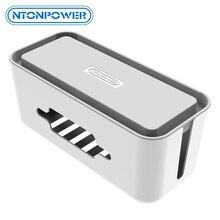 Ntonpowerハードプラスチック電源タップ収納ボックスケーブルワインダーオーガナイザーケーブル管理ボックスホルダーとカバーホームの安全