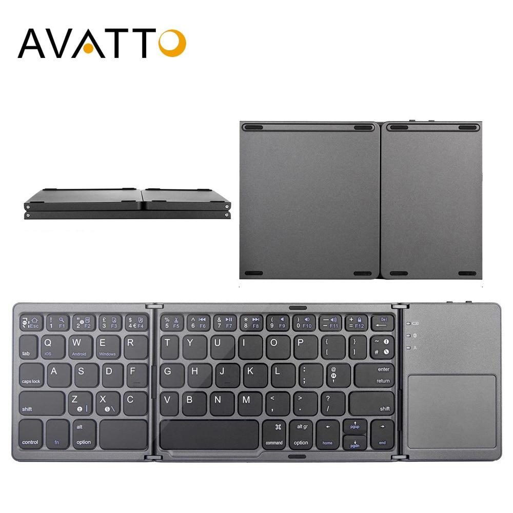 AVATTO B033 Mini teclado plegable Bluetooth teclado inalámbrico plegable con almohadilla táctil para Windows, Android, ios tableta ipad teléfono
