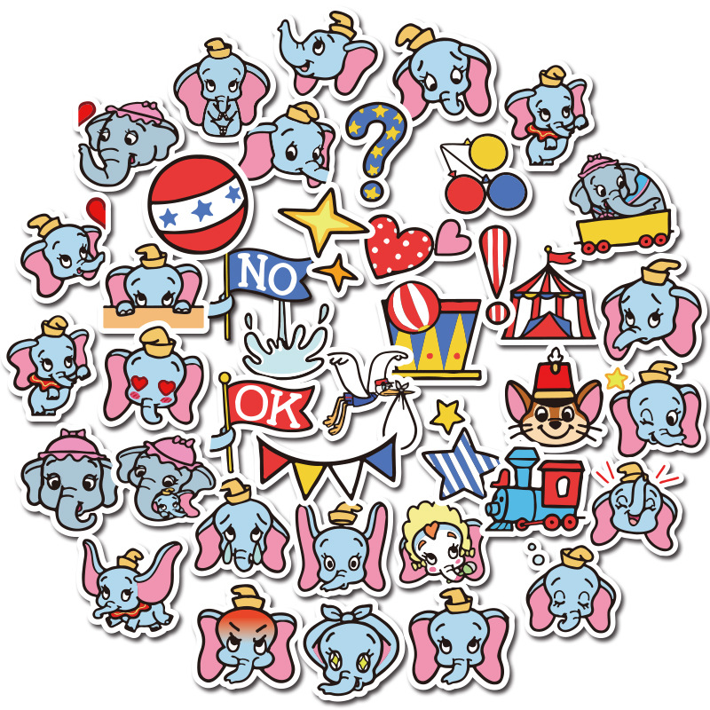 40PCS Dumbo Elephants Cartoon Vintage Decal Scrapbooking Kids For DIY Phone Laptop Motorcycle Waterproof Stickers