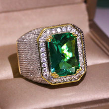 Geometric Square Big Green Zircon Yellow Gold Color Rings for Man Retro Engagement Wedding Business Ring Valentine's Day Gift(China)