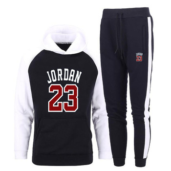 цена на Brand Clothing Men's Sets C23 Two Pieces Casual Sweatshirts Cotton Men Tracksuit Hoodies+ Pants Sport Shirts Autumn Winter Set