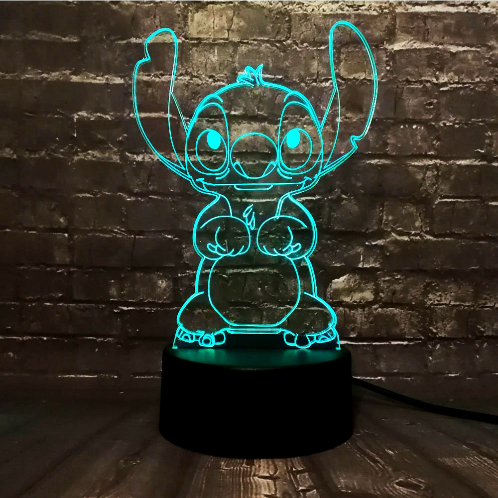 Dropshipping Lilo Stitch New 2019 3D Night Light LED Lamp Mickey Minnie Mouse Tinker Bell 7 Colors Change Room Decor Baby Gift