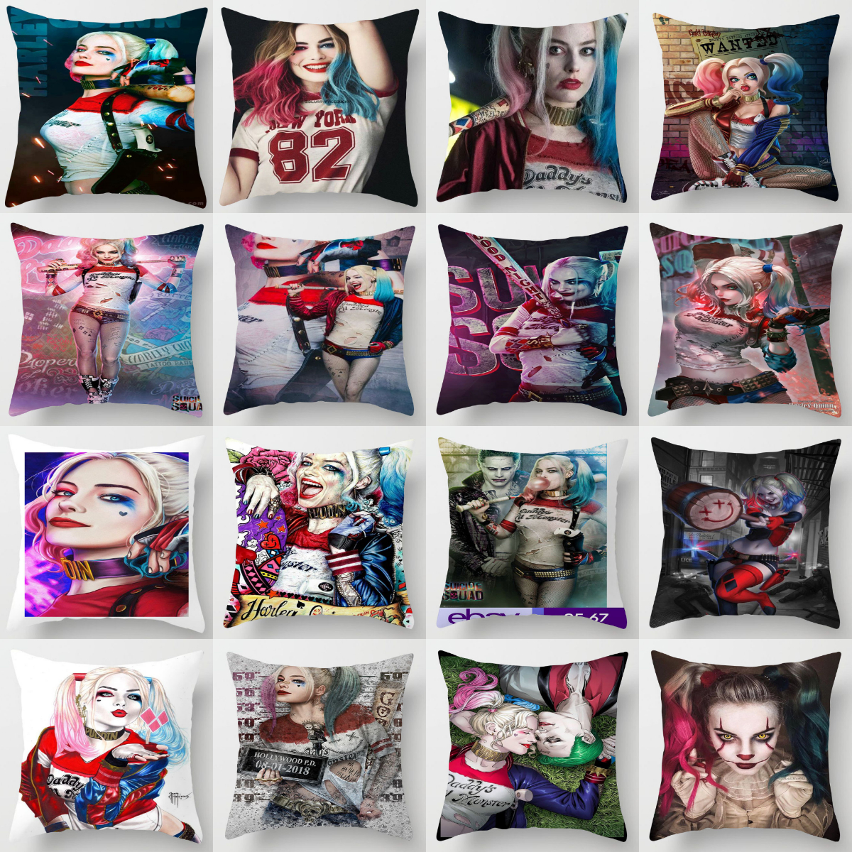 ZENGA Harley Quinn Joker Pillow Cover 45x45cm Cushion Cover Decorative Pillows For Sofa Throw Pillows Home Decoration Pillowcase