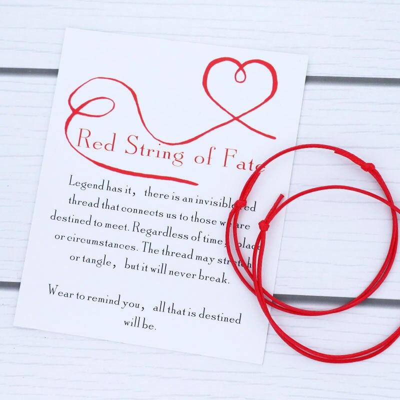 Pulseira de corda vermelha da corda da sorte pulseira de casal do destino conjunto com cartão