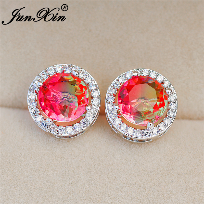 Mystic Rainbow Fire Crystal Round Earrings White Gold Colorful Rainbow Green Pink Blue Opal Wedding Stud Earrings Women Jewelry