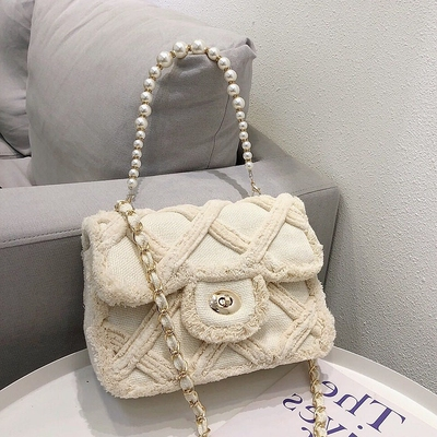 Women Canvas Shoulder Messenger Crossbody Bag Ladies Vintage Handbag Totes Female Cotton Wool Cloth Shopping Bags Pearl
