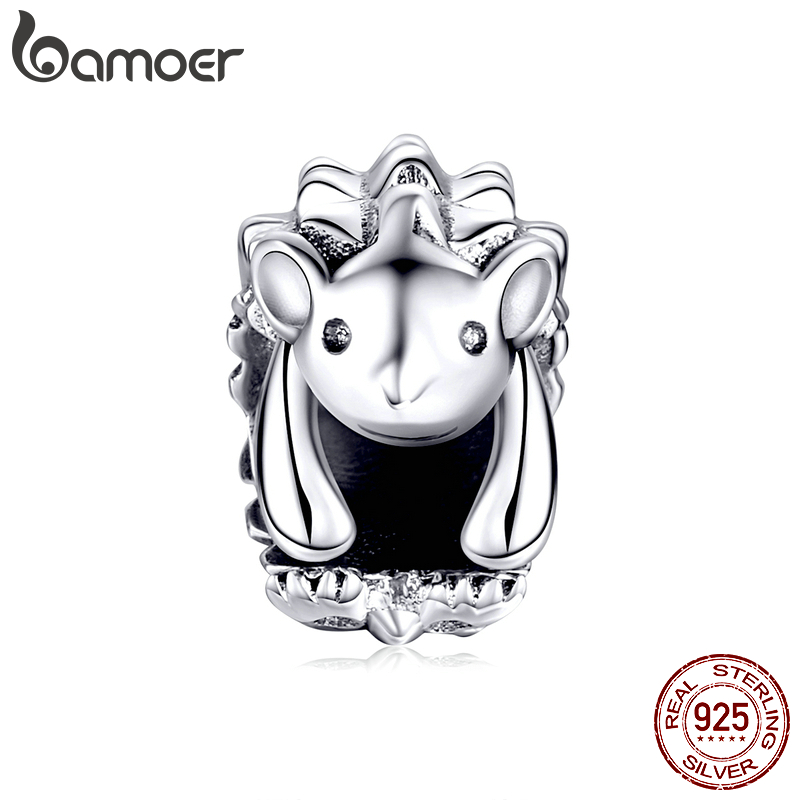 bamoer Genuine 925 Sterling Silver Hedgehog Animal Charm for Women Jewelry Making Original Bracelet & Bangle DIY Jewelry SCC1420