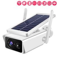 Cámara de seguridad IP inalámbrica con energía Solar, dispositivo de vigilancia CCTV de 1080P, impermeable, con Zoom 4X, Monitor de vídeo, para exteriores y hogar inteligente