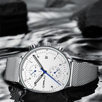 Reloj de pulsera Crrju de lujo de acero inoxidable para hombre, reloj de pulsera resistente al agua con fecha militar, reloj de cuarzo para hombre