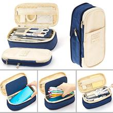 Buy Large Capacity Zipper Pencil Case Pen Pouch Bag Office Student Canvas Stationery 1pc directly from merchant!