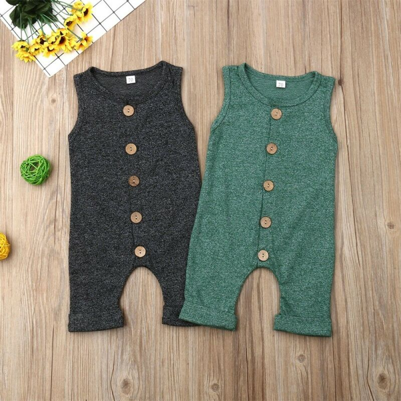 0 24M Newborn Cotton Linen Romper Toddler Baby Boy Girls Summer Romper Button Jumpsuit Outfits Sunsuits in Clothing Sets from Mother Kids