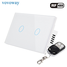 цена на Vovoway US Glass panel touch switch,light switch,RF 433MHZ wireless control,2 Gang AC110V 220V