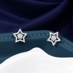 WEIMANJINGDIAN New Arrival Sparkling Cubic Zirconia CZ Zircon Crystal Star Stud Earrings for Women or Girls