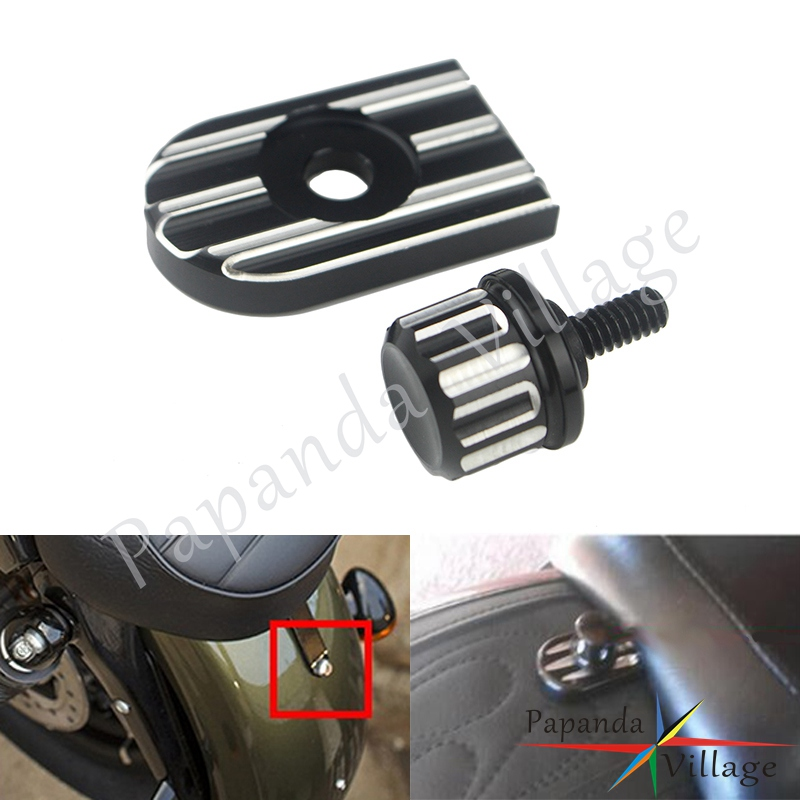 For Harley Davidson Sportster 883 1200 CVO Touring Softail Dyna Rear Seat Bolt Tab Screw Mount Knob Cover Kit 1996-2018