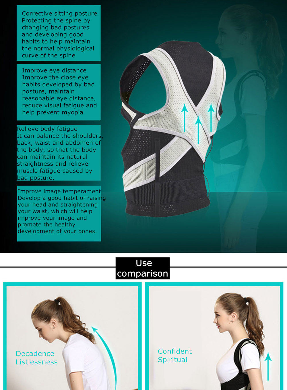 Tlinna Posture Corrector Belt with Adjustable Dual Strap Design to Get Perfect and Confident Body Posture Suitable to Wear Under or Over Clothing 29