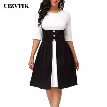 Vintage Patchwork A Line Dress Women Summer Autumn 2020 Casual Plus Size Slim Office Dresses Elegant Sexy Long Party Dress 5XL autumn summer new women shirt dress long sleeved female dresses slim fashion party office lady sundress plus size casual rob
