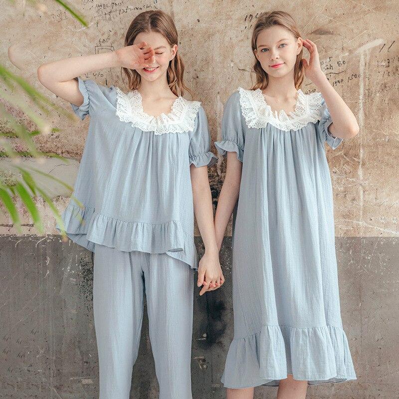 Cotton Silk Pajamas Women Summer Pure Cotton Fashion Ladies Suit Simple Casual Short-Sleeved Home Service Pajamas Women