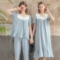 Cotton Silk Pajamas Women Summer Pure Cotton Fashion Ladies Suit Simple Casual Short-Sleeved Home Service Pajamas Women