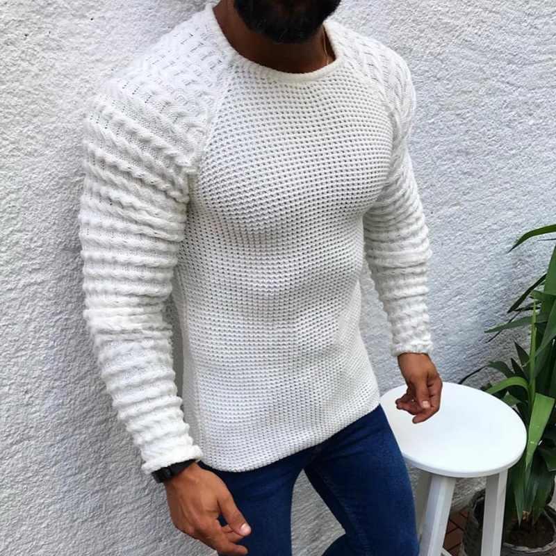 남자 패션 캐주얼 o-넥 풀오버 스웨터 패션 가을 슬림 맞는 긴 소매 솔리드 컬러 니트 2019 새로운