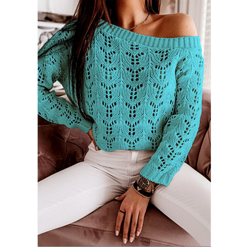 2020 Autumn One Shoulder Laser cut-out Elegant Sweater Women Long Sleeve Knitted Sweaters Plus Size 2XL Elegant Pullover long sleeve asymmetric cut out tee