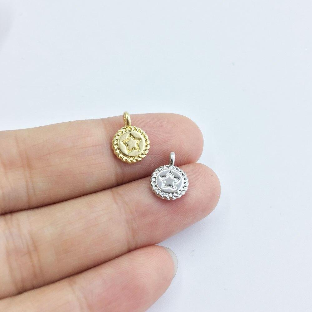 Eruifa 20 шт. 8 мм красивая звезда печать монета ожерелье из цинкового сплава, серьги браслет ювелирные изделия DIY ручной работы 2 цвета