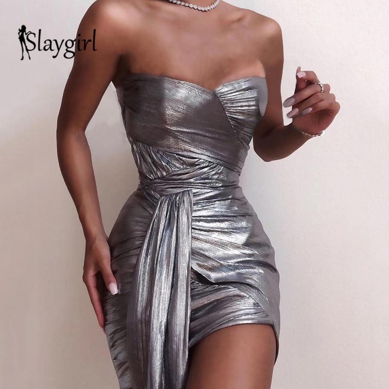 Slaygirl Wrap Bodycon Sexy Dress Women Strapless Bandage Dresses NightClub Party Mini Dress Summer Autumn 2019 New Vestidos