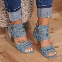 Femmes sandales à talons hauts gladiateur boucle sangle mode chaussures femme Sandalias Mujer 2020 été dames sandales grande taille 35-43
