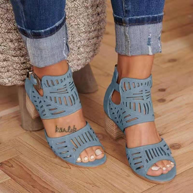 Women Sandals High Heel Gladiator Buckle Strap Fashion Shoes Woman Sandalias Mujer 2020 Summer Ladies Sandals Plus Size 35-43