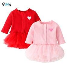 Одежда для маленьких девочек qunq милое пальто в форме сердца