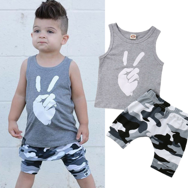 2PCS Toddler Kids Baby Boys Clothes Set Sleeveless Print Tops T-shirt + Camouflage Short Pants Outfits Set Casual Clothes 6M-5T