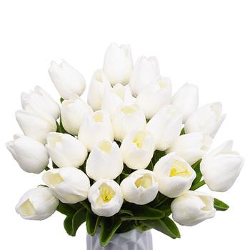 5 10 20 30 sztuk sztuczny tulipan Bonsai kwiat tulipana pianki Tulipanes kwiat roślina dla prawdziwego dotyku ślubny kwiat dekoracja do bukietów tanie i dobre opinie YONGSNOW NF105-S7 Sztuczne Kwiaty Bukiet kwiatów Ślub Z pianki 35cm Party home decor