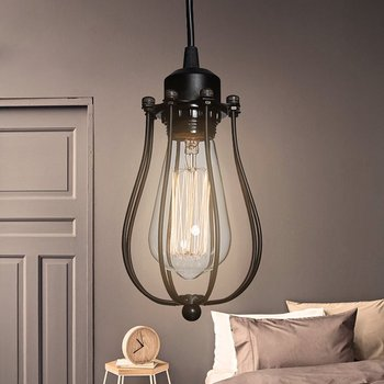 1/2/4PCS Vintage Metal Wire Lamp Cage Industrial Pendant Light Shade Lamp Guard Classic Black Nordic Bulb Cover Lampshade D30 baoblaze retro ceiling light shade cover pendant lampshade