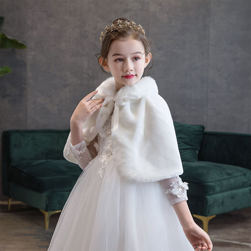Kid Winter Coats For Girls Faux Fur Capes For Children Wedding Warm Cloaks Shawl Shrug Baby Girl Party Dress Bolero Cape