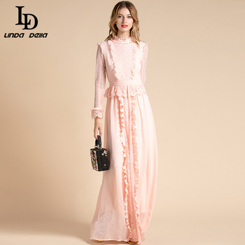Ld Linda Della Solid Pink Maxi Dresses Women Long Sleeve Flowers Lace Peplum Ruffles Chiffon Long Dress Formal Gown Party Dress Leather Bag