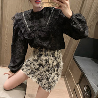 Elegant Lace Joint Frilled Long sleeved Shirt Women's Sense of Design Non mainstream Shirt French Tops Skirt Autumn And Winter