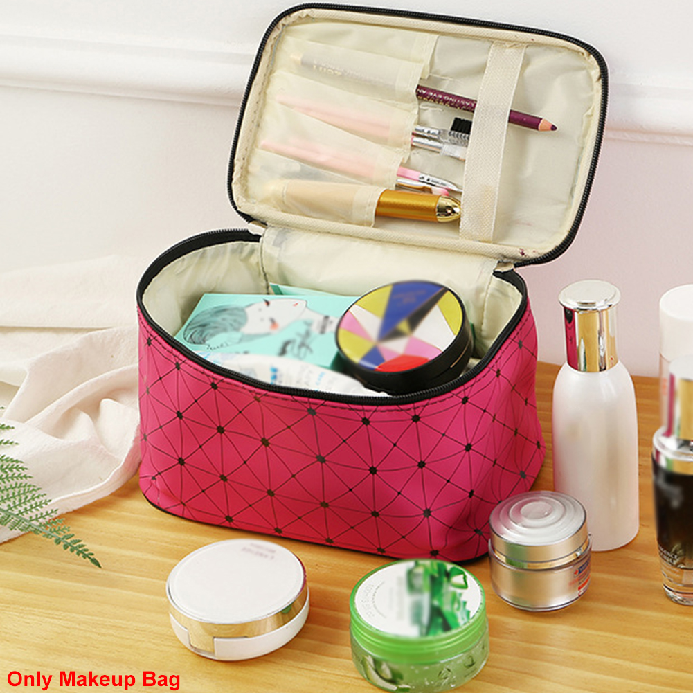 Toiletry Makeup Bag Travel Case Cosmetic Pouch Organizer Box Portable Cotton And Linen Jewellery Lightweight Zipper Closure