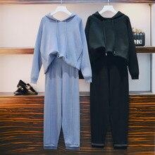 CBAFU plus size vrouwen trainingspak gebreide 2 delige set herfst winter breien broek pak hoodies trui broek pak vrouwelijke P413