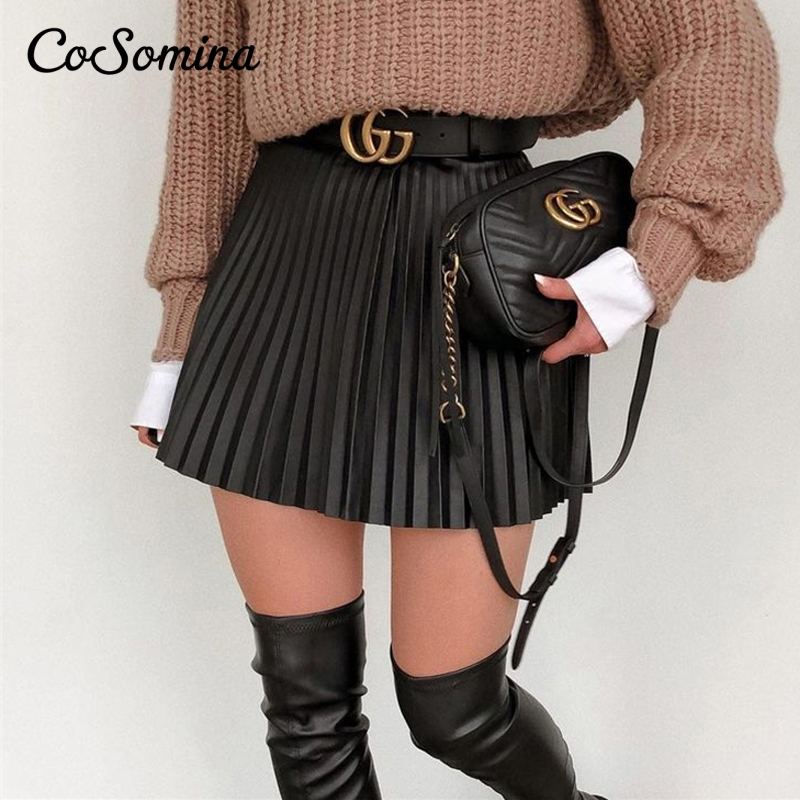 CoSomina High Waist Pleated Women Skirt A-line Faux Leather Streetwear Female Short Skirt Spring Autumn Party Club Sexy Skirt